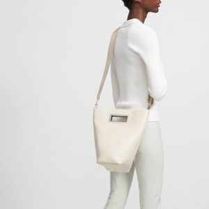 Luxe 100% Leather Cut Out Tote in Ivory by Theory
